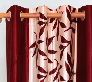 6866dc1181fe Achintya Polyester Red Floral Eyelet Window Curtain 152 cm in Height ...