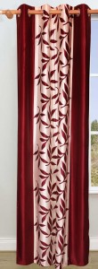 Achintya Polyester Red Floral Eyelet Window Curtain