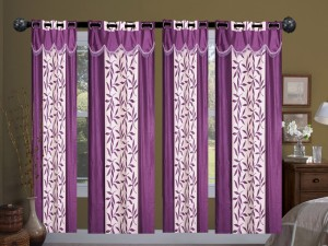 New Ladies Zone Polyester Purple Floral Curtain Window Curtain