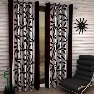 Handloom Hub Polyester Brown Floral Eyelet Door Curtain
