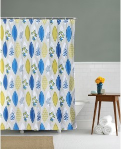 Home Ethylene Vinyl Acetate Blue Floral Eyelet Shower Curtain