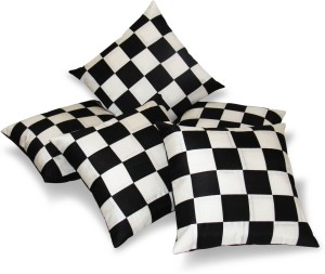 Zikrak Exim Checkered Cushions Cover Pack Of 5 30 Cm 30 Cm Black