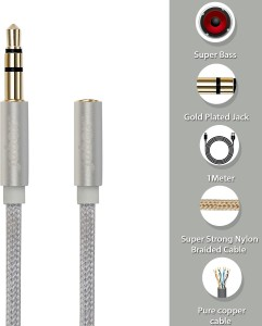 Jabox 3.5 mm Male to 3.5mm Female jack Extension AUX Cable