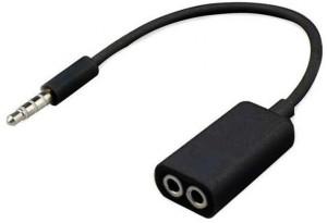 AutoKraftZ Premium 3.5mm Stereo Audio Male to 2 x 3.5mm Female Earphone Splitter Cable for iPod iPhone iPad - Black Headphone Splitter