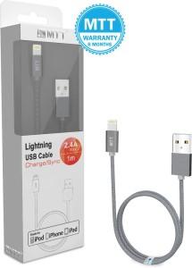 MTT Apple MFI Certified Nylon Braided Grey Lightning Cable