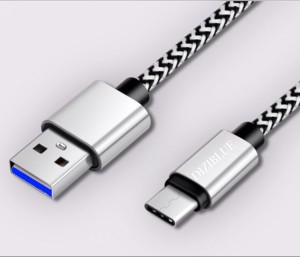 Diziblue 3A USB 3.0 6.6ft Tough Nylon Braided Fast Charging USB C Type Cable