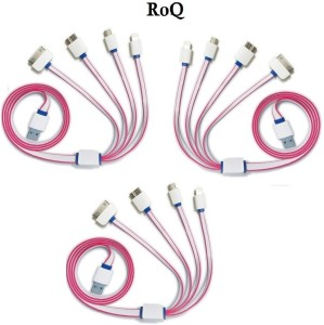 ROQ Sets of 3 5 IN 1 Flat Multi Chargi USB Cable
