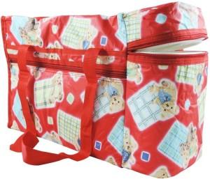 Wishkey Premium Multi Purpose Teddy Bear Printed Red Nursery Bag