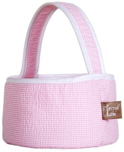 Trend Lab Pink Gingham Seersucker Collapsible Round Caddy Tote Diaper Bag