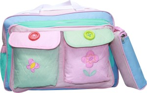 Kiwi Pink Flower Embroidery with Buttons Diaper Bag