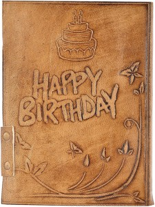 Hare Krishna Handicrafts Regular DiaryBirthday emboss leather cover  handmade paper diary notebook with lock, 7x5 Inch, Tan