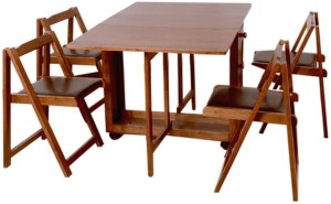 HomeTown Compact Folding Solid Wood 4 Seater Dining Set