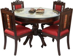 ExclusiveLane Solid Wood 4 Seater Dining Set
