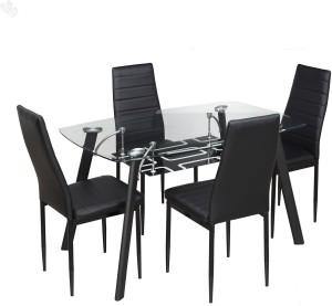 RoyalOak Milan Metal 4 Seater Dining Set