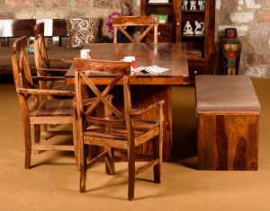 eef5a0a4e39 Induscraft Solid Wood Dining Set Finish Color Brown Best Price in ...