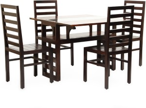 6093150126 HomeTown Carmen Solid Wood 4 Seater Dining Set Finish Color Walnut ...