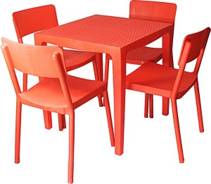 e5c4988a45d Cello Plastic 4 Seater Dining Set Finish Color Red Best Price in ...