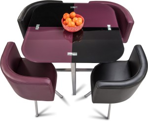 317d7aaaf Durian NEON Glass 4 Seater Dining Set Finish Color Purple Black Best Price  in India