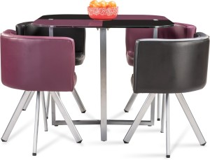 bf0c1ba8c Durian NEON Glass 4 Seater Dining Set Finish Color Purple Black Best ...