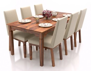 Urban Ladder Malabar XL (With Brass Inlay) Solid Wood 6 Seater Dining Set