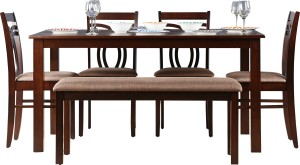 HomeTown Stella Solid Wood 6 Seater Dining Set