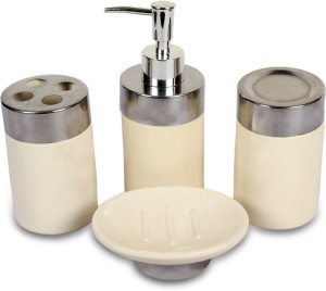 Chrome Bone China Bathroom Set Pack Of 4 Best Price In India