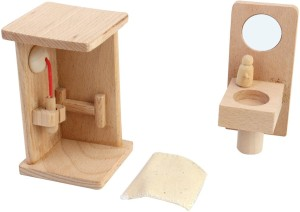 Shrih Solid Wood Miniature Dollhouse Bathroom Furniture Set