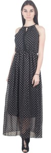 G & M Collections Women's Fit and Flare Black, White Dress