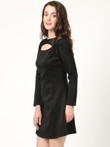 d27f01fa664fe Marie Claire Women s A line Black Dress Best Price in India