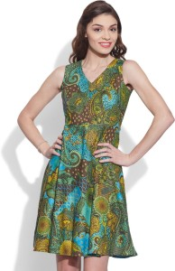 Very Me Women's Fit and Flare Green Dress