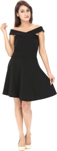 Av Creations Women's Fit and Flare Black Dress