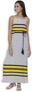 Tokyo Talkies Women's Maxi White, Dark Blue, Yellow Dress
