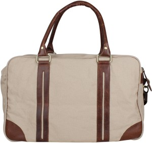 6a7e9a684498 Zobello Genuine Leather Dyed Canvas Duffle Bag 17 inch 43 cm Travel Duffel  Bag Brown Best Price in India