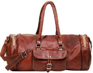 Pranjals House 22 inch round leather cum gym bag Travel Duffel BagBrown c311e392b42a1