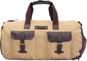 Bare Skin BEIGE CANVAS & LEATHER DUFFLE GYM BAG 18 inch/45 cm Travel Duffel Bag