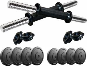 Kobo 30 Kg Home Gym Rubber Combo Dumbbells Rod Set Exercise & Fitness Adjustable Dumbbell