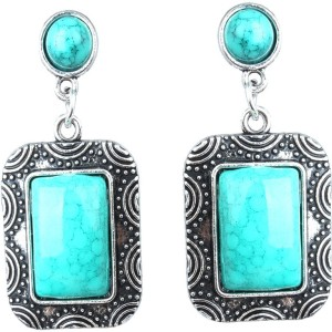 Waama Jewels Turquoise Back Style Drop Silver plated Oxidised product for  Women Wedding spiritual Jewellery Cubic Zirconia Copper Dangle Earring