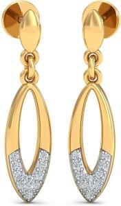 KuberBox Glow Eliptico Yellow Gold 18kt Diamond Drop Earring