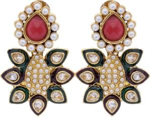 Hyderabadi Abhushan Peacock Cubic Zirconia, Pearl Alloy Drop Earring