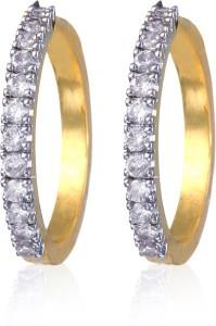 Alysa Deleena Cubic Zirconia Brass, Copper, Silver Hoop Earring
