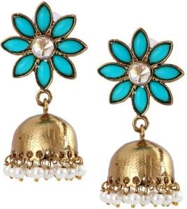 The Jewel Box Cute Flower Pearl Copper Jhumki Earring