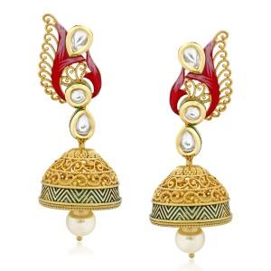 VK Jewels Eye Cathy Kundan Alloy Jhumki Earring