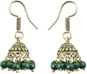 Waama Jewels Elegant Pair Of earring Adorned With Green Pearls Pearl Brass Jhumki Earring
