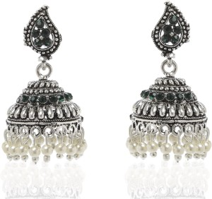 GoldNera Antique Tribal Silver Alloy Jhumki Earring