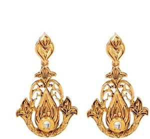 GoldNera 18K Goldplated Kundan Europian Alloy Drop Earring
