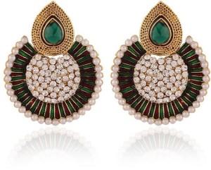 Rich Lady Maroon & Green Meenakri Pearl Moddish Gold Plated Alloy Chandbali Earring