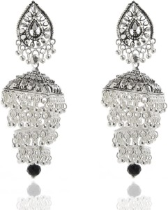 GoldNera Silver plated Bollywood Alloy Jhumki Earring