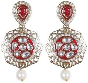 Rajwada Arts Stylish Kundan with Red stone and Pearls Brass Drop Earring