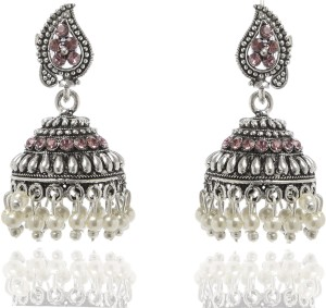 GoldNera Amazing Pink Color Antique Silver Alloy Jhumki Earring