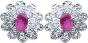 Waama Jewels Red Colored Gemstone Setting Fashion Jewellery For Women Daily Wear Gift Girlfriend Cubic Zirconia Copper Stud Earring